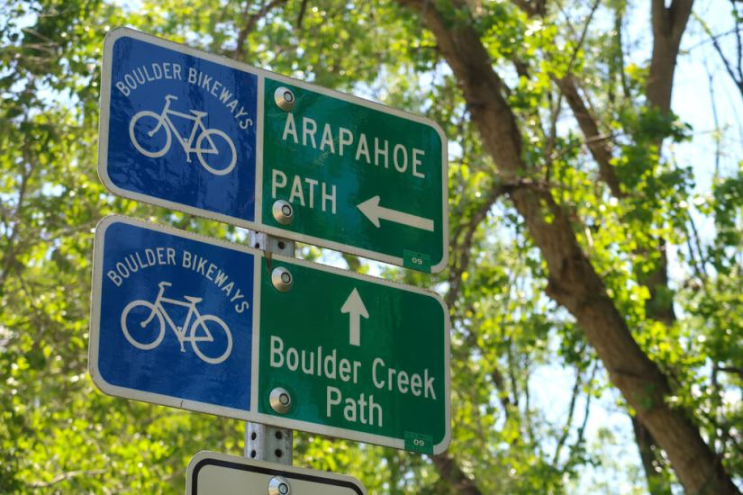 Signs for bicycle paths around Boulder Colorado