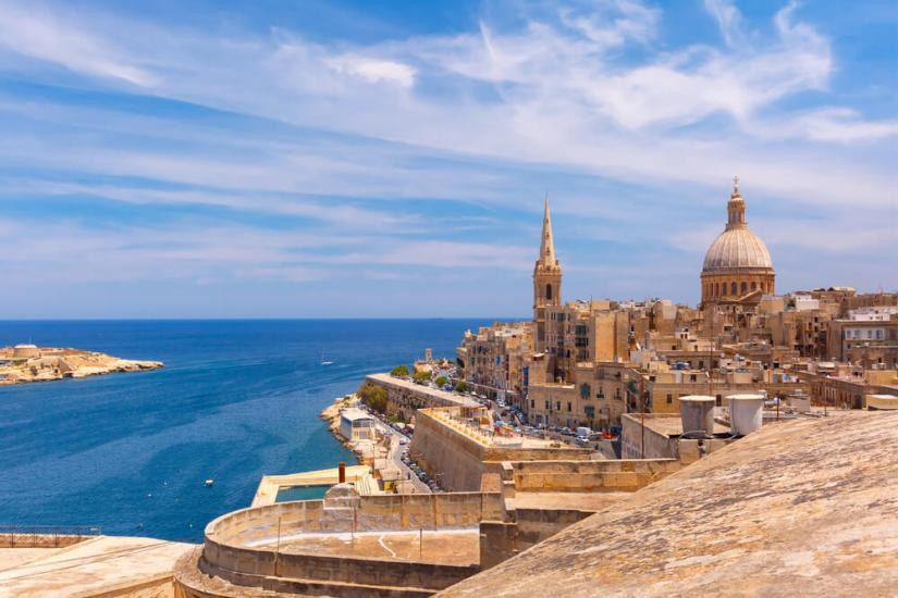 View over Malta and the bay on a sunny day over beautiful architecture