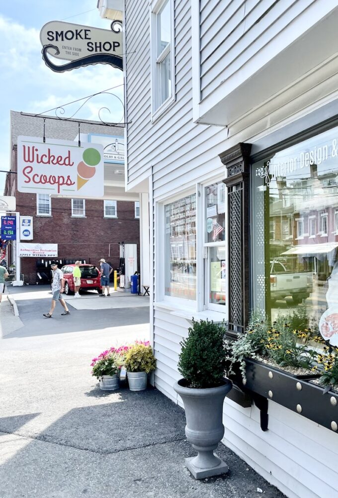 Sign for Wicked Scoops a popular ice cream spot in Damariscotta Maine