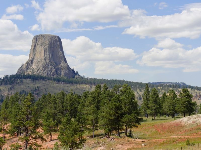 The mysterious rock formation of Devils Tower in Wyoming near South Dakota