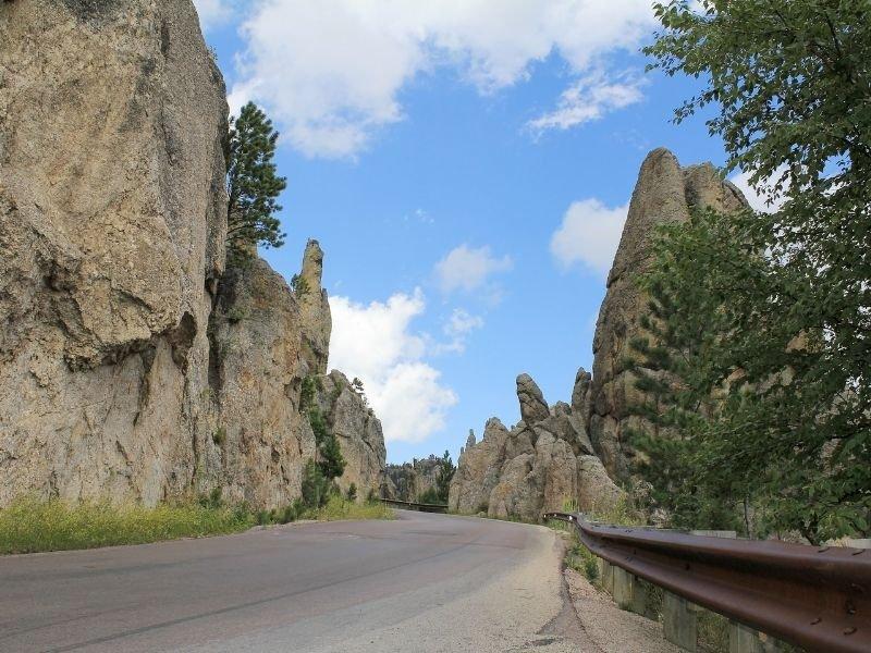 The Needles highway in South Dakota open road around rocks