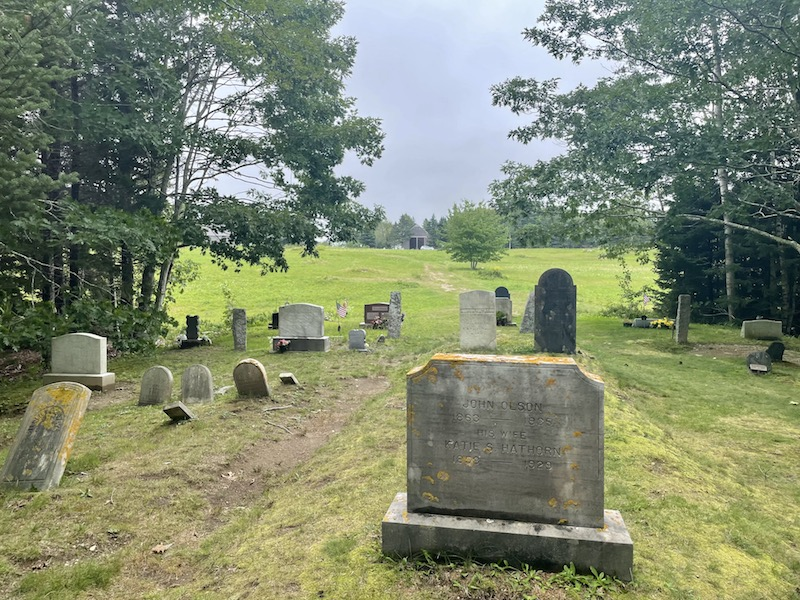 graveyard with old grave stones where andrew wyeth and his wife are buried