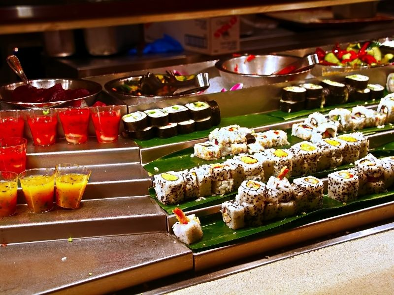 buffet with options like sushi and other asian fare offered at a las vegas buffet