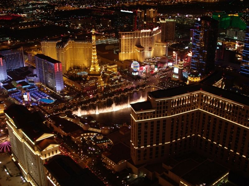 las vegas at night as seen from above