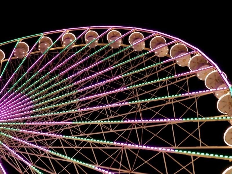 photo of the linq ferris wheel from below