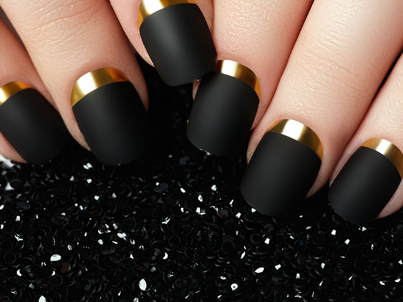 Advanced Nail Artistry Matte Black And Gold