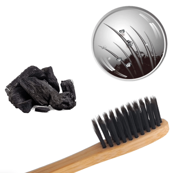 Organic Bamboo and Activated Charcoal Toothbrush.