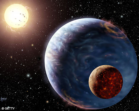 'The Millennium Planet' depicts a planet of the star tau Boötis ~ a huge, bluish gas giant, bigger than Jupiter. At the time, this was thought to be the first visual confirmation of such a world.
