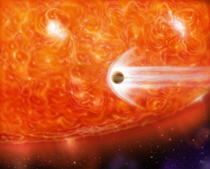 Nessa concepção artística uma gigante vermelha exerce sua fúria sobre um planeta joviano