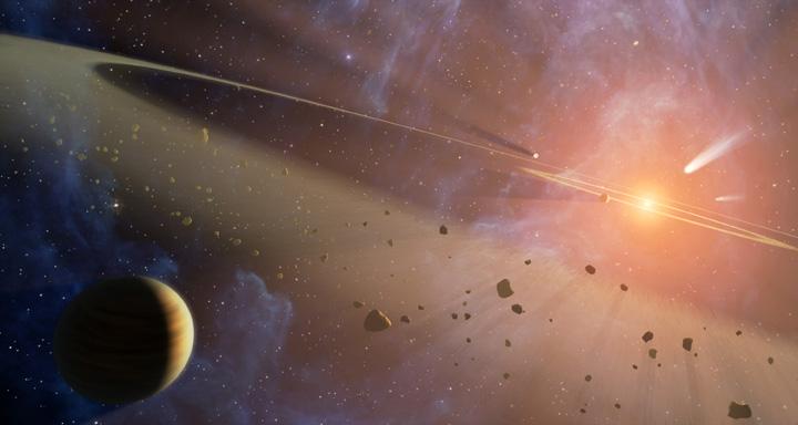 Epsilon Eridani - Esse desenho mostra o sistema planetário mais próximo do nosso Sistema Solar. NASA/JPL-Caltech