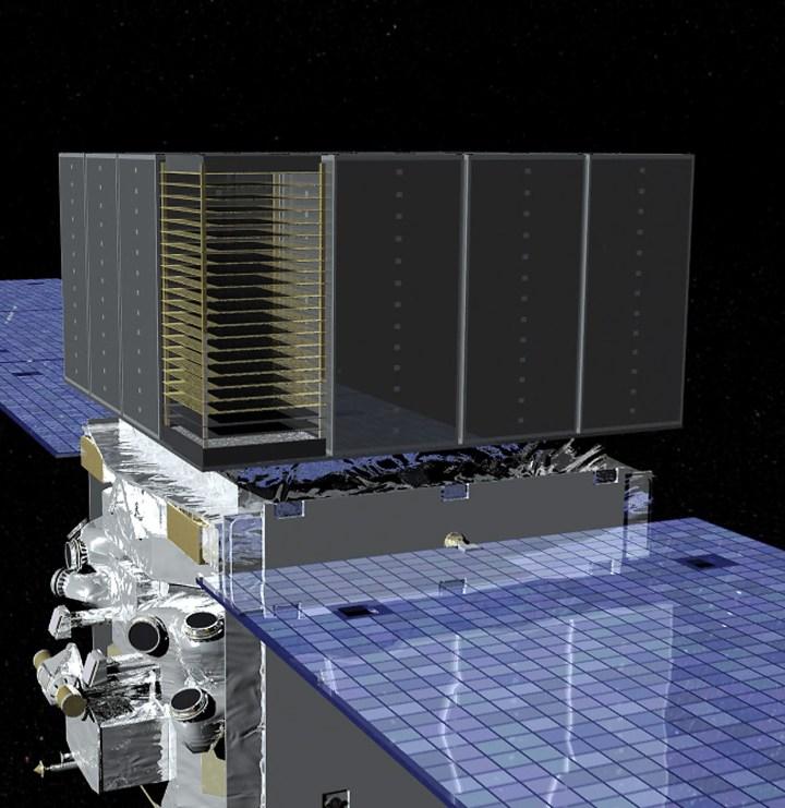 Visão artística do detector LAT do telescópio espacial Fermi