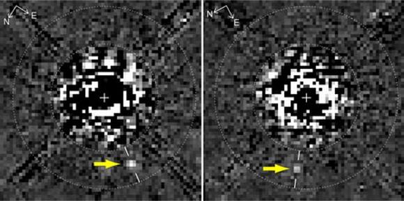 Imagens do arquivo de 1998 de fotos do Hubble da estrela HR 8799 depois do processo de depuração da imagem – um dos exoplanetas foi resolvido (D. Lafrenière et al., ApJ Letters)