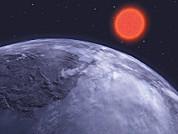 Visão de um exoplaneta oceânico congelado orbitando uma estrela anã-vermelha