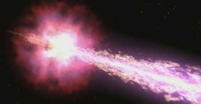 Essa ilustração mostra dois jatos opostos emitidos a partir do centro massivo da estrela em colapso. Se condições especiais forem atendidas a estrela em explosão jatos de matéria em velocidades relativísticas. As Turbulências nesses jatos, conforme os modelos físicos atuais, produzem raios gama. Se um jato está casualmente apontado na direção da Terra nós podemos observar uma curta mas potente fluxo enegético de raios-gama. Crédito: NASA / Swift / Cruz deWilde