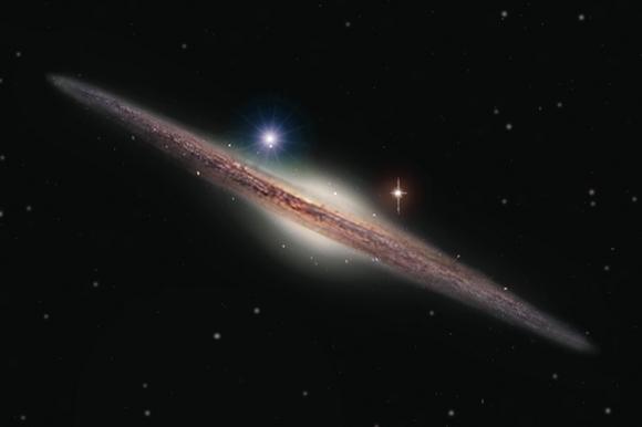 Imagem: impressão artística do HLX-1 na periferia da galáxia espiral ESO 243-49. Crédito: Heidi Sagerud.