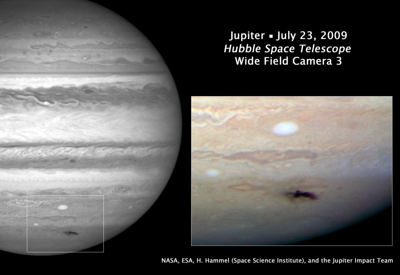 A mancha negra em Júpiter foi flagrada pela nova câmera WFPC3 do Hubble. Crédito: NASA/ESA/HST
