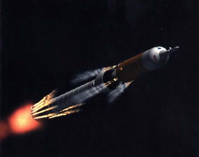 Concepção artística da separação do estágio do foguete Ares I, que irá ocorrer quando o primeiro estágio esgotar seu combustível. Um conjunto de cargas lineares entre o estágio superior e o primeiro estágio será disparado, separando o metal entre o primeiro estágio e o estágio intermediário. Ao mesmo tempo 10 motores de explosão de desaceleração irão empurrar o primeiro estágio para trás, enquanto oito motores de aceleração irão empurrar o estágio intermediário para frente. Crédito: NASA/MSFC