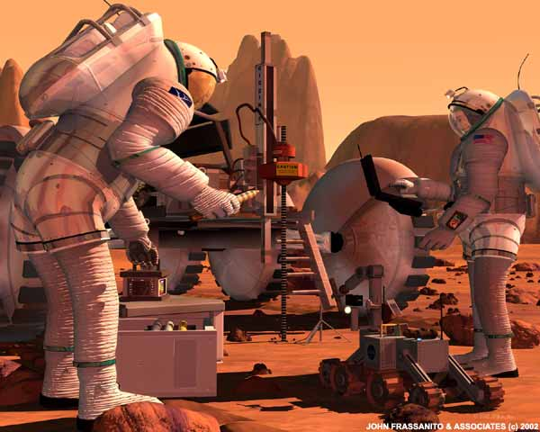 Astronautas cientistas escavam o solo marciano para coletar amostras. Crédito: John Frassanito e associados