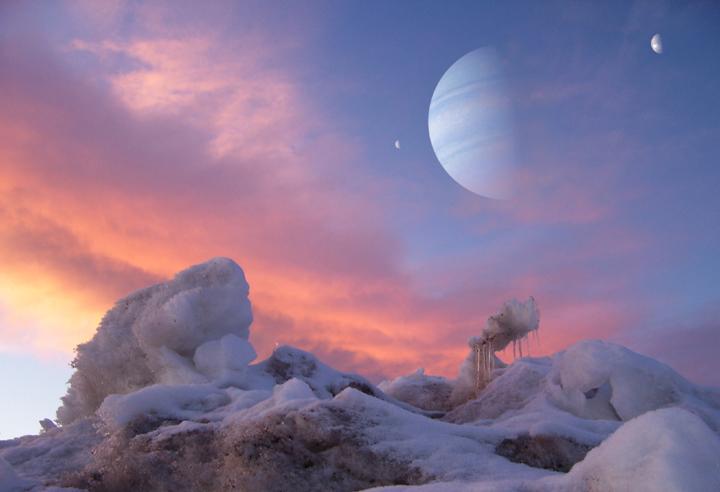 Exolua congelada orbitando um exoplaneta joviano por Dan Durda