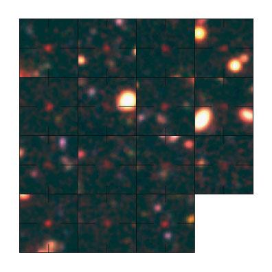 Esta é uma imagem composta em falso cor das galáxias encontradas em uma época antiga de cerca de 800 milhões de anos após o Big Bang. O painel acima à esquerda representa a galáxia confirmada em 787 milhões de anos de idade do Universo. Estas galáxias estão  no Campo Profundo do telescópio Subaru. Crédito: M. Ouchi et ao.