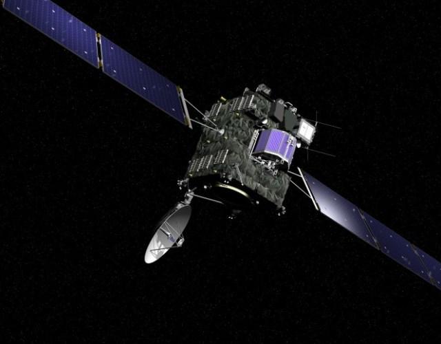 A sonda Rosetta da ESA foi lançada em 02 de Março de 2004 para a missão de 11 anos de investigação do cometa 67P/Churyumov-Gerasimenko. A sonda carrega 11 instrumentos para analisar o núcleo cometário e mapear sua superfície em detalhes. Além disso uma subsonda pousará (Philae Lander) no cometa para analisá-lo in situ. Esta missão arrojada irá fornecer pistas das características físicas e quÃímicas dos processos que levaram a formação do sistema Solar há 4,6 bilhões de anos. Créditos: ESA, imagem por AOES Medialab