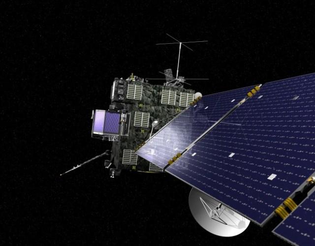 Visão da sonda Rosetta com destaque aos seus painéis solares. A Rosetta está coberta por isolante térmico enegrecido para manter seu aquecimento interno enquanto realizada sua jornada no ambiente gélido do Sistema Solar exterior. Créditos: ESA, imagem por AOES Medialab