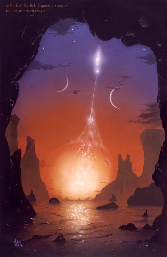 O amanhecer em um sistema binário alienígena