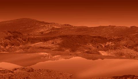 Lago de hidrocarbonetos em Titã. Crédito da concepção artística: NASA/JPL
