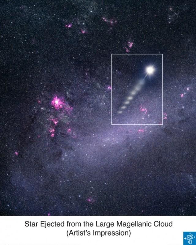 Estrela ejetada a partir das Nuvens de Magalhães, descoberta em 2005. Crédito: ESO.