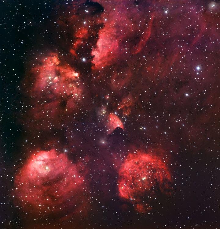 NGC 6334 - nebulosa da 'Pata do Gato'. Crédito: ESO