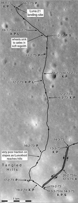 Mapa lunar mostra o caminho estimado por Phil Stooke percorrido pelo Lunokhod2, conforme seu Atlas (The International Atlas of Lunar Exploration).