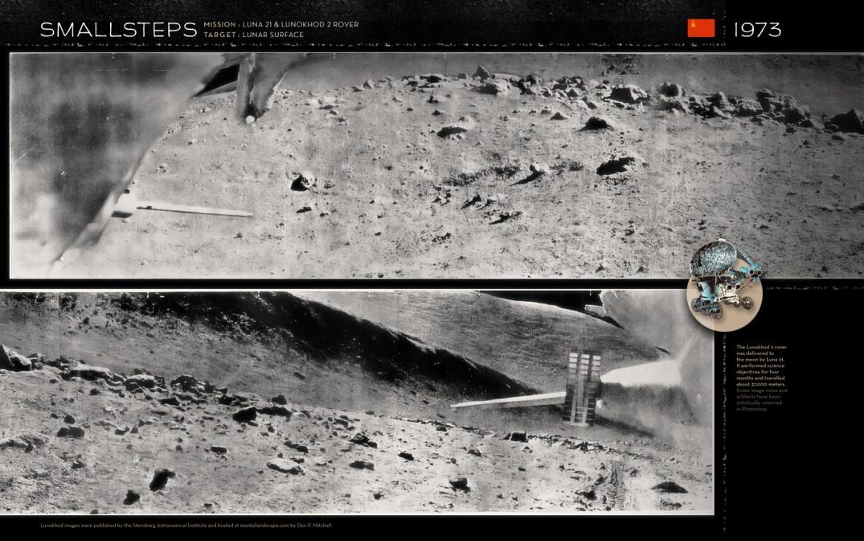 O rover lunar Lunokhod 2 foi entregue pela espaçonave Luna 21 e operou na Lua por 4 meses, percorrendo 37 km, uma distância superior a do seu antecessor, o Lunokhod 1.