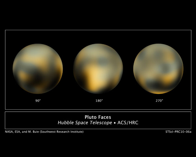 As faces de Plutão: o disco central (180o) mostra uma região brilhante misteriosa que é rica em monóxido de carbono. Crédito: NASA, ESA e M. Buie (Southwest Research Institute)