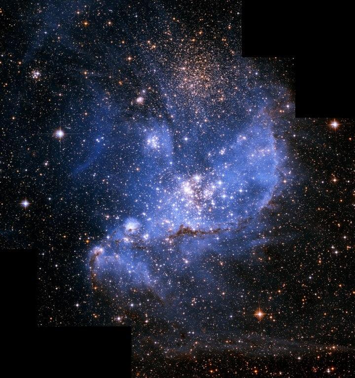A NGC 346 é um berçário estelar dentro da Pequena Nuvem de Magalhães. Crédito: A. Nota (ESA/STScI) et al., ESA, NASA