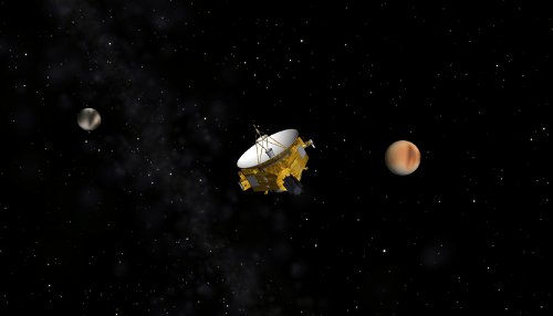 Imagem: Uma visão artística da New Horizons ao se aproximar de Plutão / Caronte. A New Horizons carrega um dispositivo medidor de poeira interplanetária, um projeto de estudantes implementado pela NASA. Crédito: SwRI.