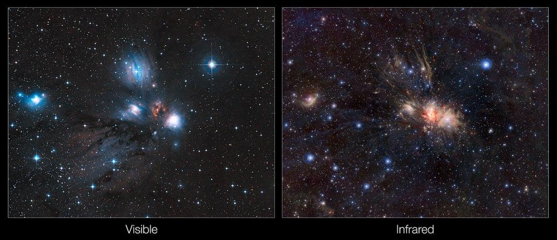 Comparação da região no visível (à esquerda) e no infravermelho (à direita) do berçário estelar Monoceros E2. Créditos: ESO/J. Emerson/VISTA/Digitized Sky Survey 2/Cambridge Astronomical Survey Unit