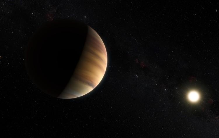 Esta impressão artística mostra um exoplaneta da classe Júpiter quente 51 Pegasi b, que orbita uma estrela a cerca de 50 anos-luz de distância, na constelação de Pegasus. Este objeto foi o primeiro exoplaneta a ser descoberto em torno de uma estrela tipo Sol em 1995. Vinte anos mais tarde foi também o primeiro exoplaneta a ser detectado diretamente no espectro visível. Créditos: ESO/M. Kornmesser/Nick Risinger (skysurvey.org)