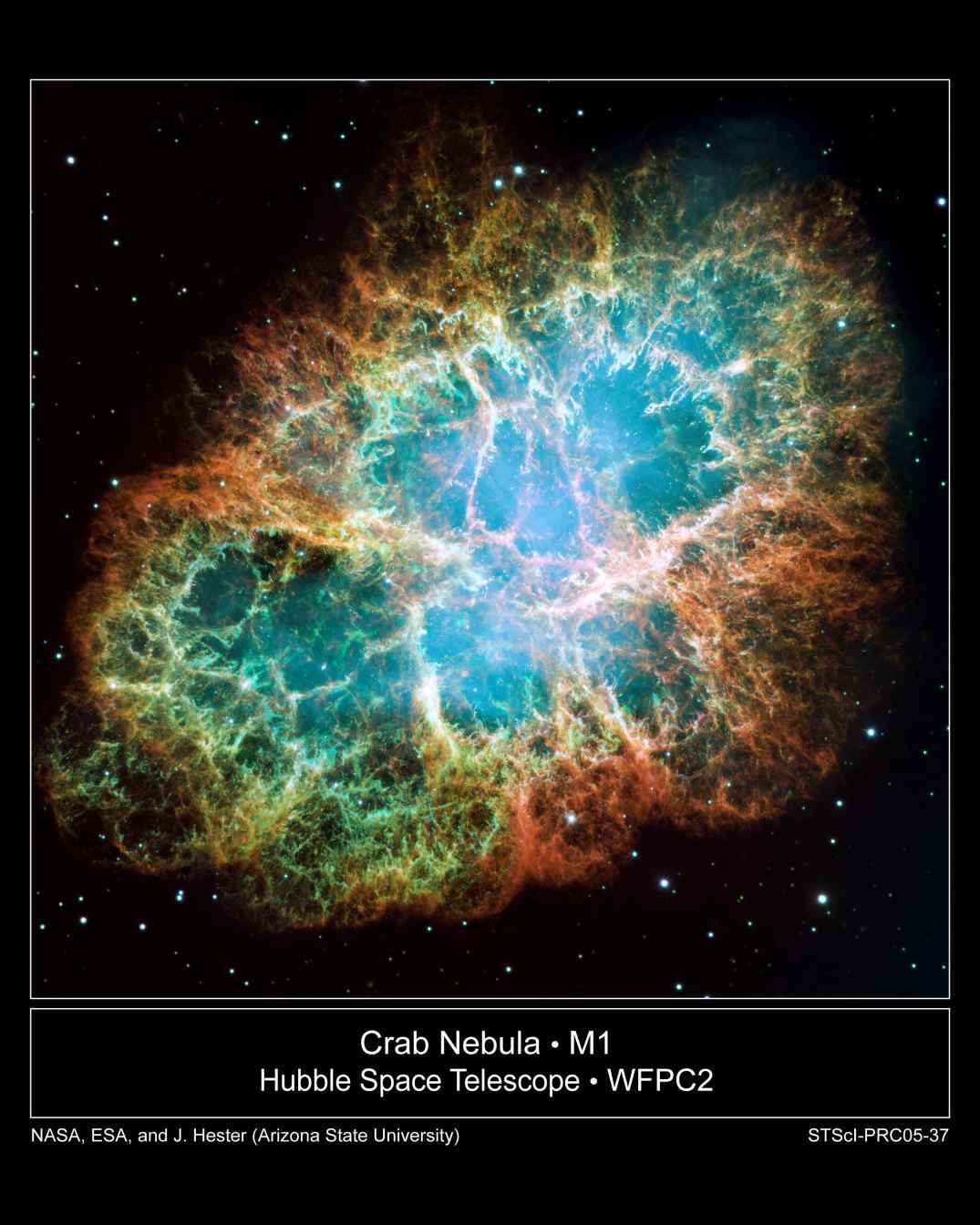Esta imagem é um grande mosaico, um dos mais detalhados já obtido pelo Telescópio Espacial Hubble da NASA da Nebulosa do Caranguejo, uma nebulosa remanescente de supernova com seis anos-luz de diâmetro. Investigações recentes mostram que os raios cósmicos galácticos que fluem para o nosso Sistema Solar são originários de objetos como este. Créditos: NASA/ESA/Universidade do Estado do Arizona