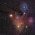 Marte à frente das nuvens cósmicas de Rho Ophiuchi por Sebastian Voltmer