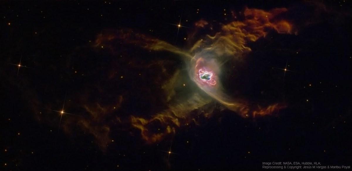 A nebulosa planetária da Aranha Vermelha capturada pelo Hubble e enriquecida por Jesús Vargas e Maritxu Poyal