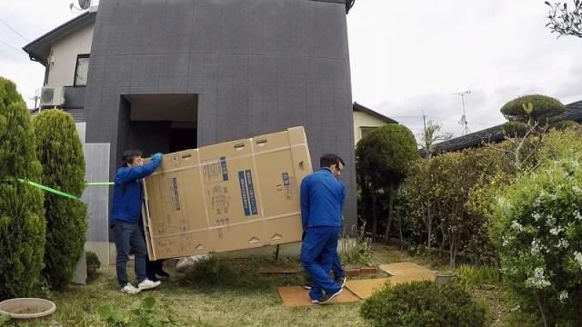 エコキュートの運搬 梱包状態