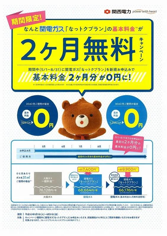 関電ガス2ヶ月基本料無料キャンペーン