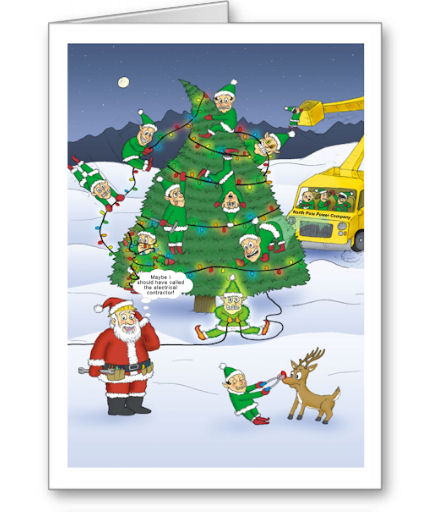 TNT Santas Stooges Christmas Cards For Electrician