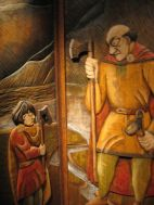 Wood panel showing a scene from Egil's childhood.