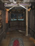 Hallway in which several scenes from Egil's saga were dramatized, including a famous passage in which Egil receives a gold ring in
