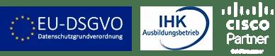 DSGVO Hinweis, IHK Ausbildungsbetrieb und Cisco Gold Partner Logo ethcon GmbH