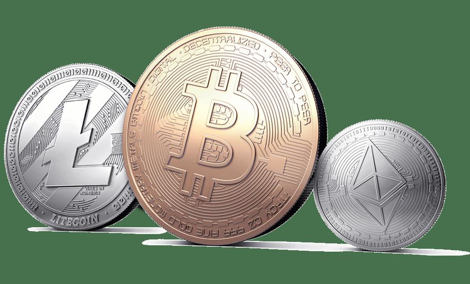 Ethereum, Litecoin, og Bitcoin mynter