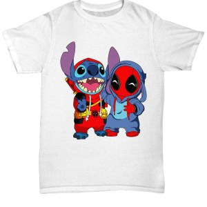 Deadpool and baby stitch shirt