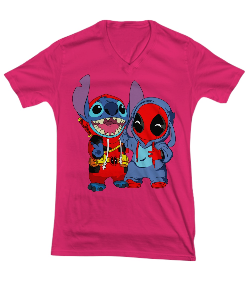 Deadpool and baby stitch v-neck tee