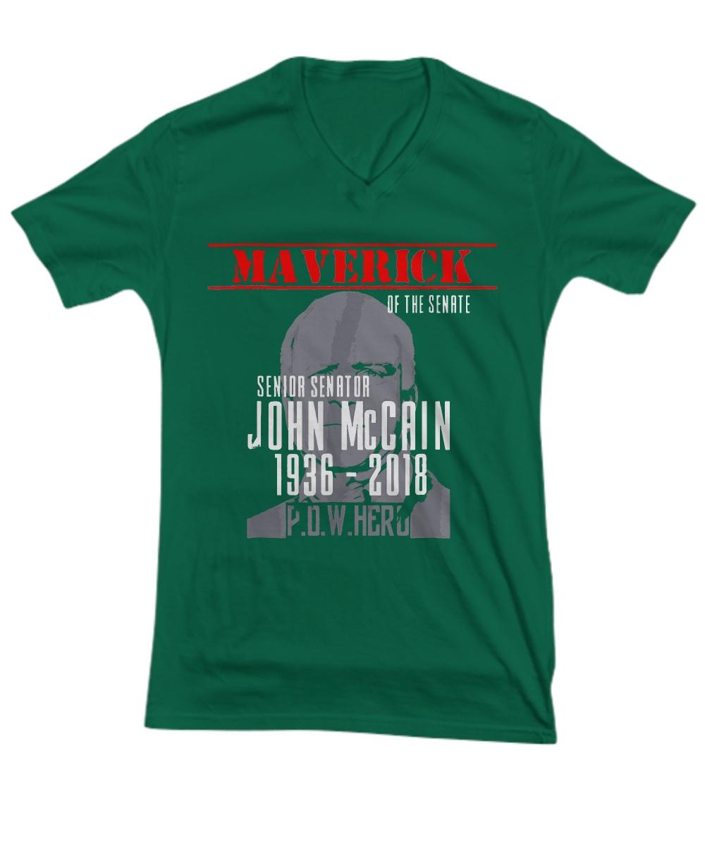 Maverick of the senate senior senator john mccain 1936 - 2018 pow hero V-neck